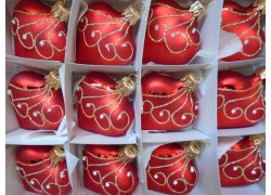 Christmas Ornament Heart set of 12 pcs 12ks www.sklenenevyrobky.cz