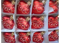 Vánoční ozdoba , srdíčko červený mat , sada 12ks paví brk 422