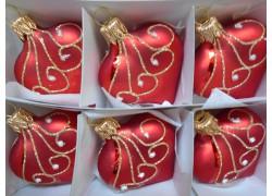 Christmas heart small, ornament 6pcs, red www.sklenenevyrobky.cz