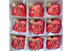 Vánoční ozdoba , srdíčko červené mat, sada 9 ks paví brk 422