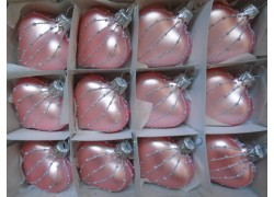 Vánoční ozdoba , srdíčko růžové, sada 12ks 812