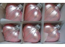 Vánoční ozdoba , srdíčko růžové, sada 6 ks 812