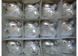 Vánoční ozdoba , srdíčko stříbrné, sada 12ks bílý mat paví 1561