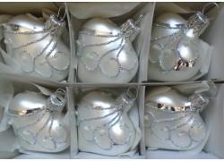 Vánoční ozdoba , srdíčko stříbrné, sada 6 ks bílý mat paví 1561