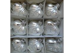 Vánoční ozdoba , srdíčko stříbrné, sada 9 ks bílý mat paví 1561