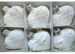 Vánoční ozdoba , srdíčko bílé, sada 6 ks rosa 2440