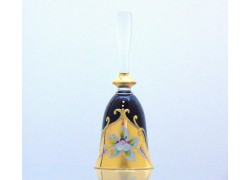 Glass bell, black color and golden decor www.sklenenevyrobky.cz