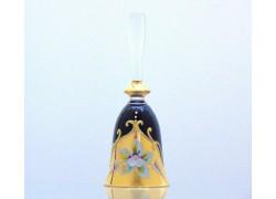 Sklenený zvonček, čiernej farby a zlatým dekorom