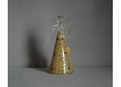 Glass angel golden with red stones www.sklenenevyrobky.cz