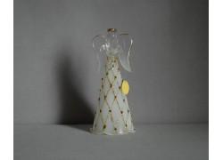 White glass angel with gold and stones www.sklenenevyrobky.cz