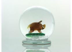 Snow globe 8cm - wild pig www.sklenenevyrobky.cz