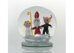 Sněžící guľa 10cm - Mikuláš, Čert a Anjel