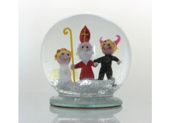 Sněžící koule Mikuláš, Čert, Anděl 12 cm
