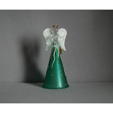 Sklenený anjel zelený www.sklenenevyrobky.cz