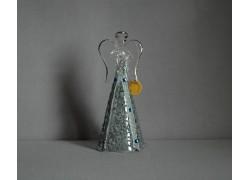 Glass silver angel with rhinestones www.sklenenevyrobky.cz