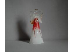 Glass angel white red www.sklenenevyrobky.cz