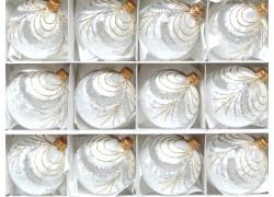 Vánoční koule sada 12ks bílé mrazolak 2910 záclonka 6cm