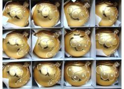 Vánoční koule sada 12ks zlatý mat 3247 paví brk 6cm