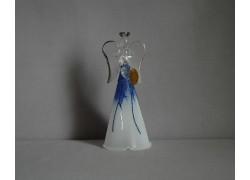 Glass angel white blue www.sklenenevyrobky.cz