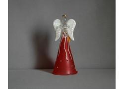 Glass angel red, white wings www.sklenenevyrobky.cz