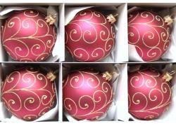 Vánoční koule sada 6ks Bordeaux 3823 paví brk 8cm