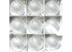 Vánoční kouličky sada 12ks stříbrných 6cm vpich decor mráz 2049