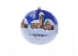 Vánoční ozdoba koule 150mm grafika, chalupy se zvoničkou, modrá