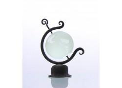 Globus 80mm v kováčskej stojane, z číreho skla