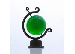 Globus 80mm v kovářském stojanu z čirého skla v zelené