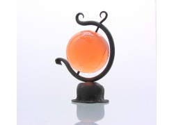 Globus 80mm v kováčskej stojane z číreho skla v ružovej