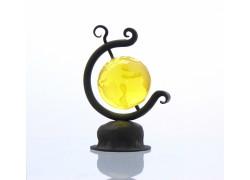 Globus 60mm in blacksmith stand yellow color www.sklenenevyrobky.cz