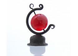 Globe 60mm in a blacksmith's stand www.sklenenevyrobky.cz