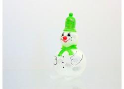 Vánoční ozdoba, sněhulák s čepicí a šálou na lyžích, zelený
