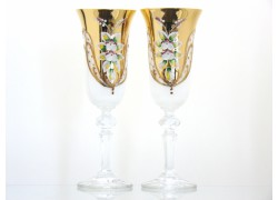 Champagne glasses 150ml, 2 pcs, gilded and decorated, white www.sklenenevyrobky.cz