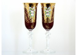 Champagne glasses, 2 pcs, gilded and decorated, in ruby www.sklenenevyrobky.cz
