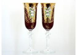 Sklenice na šampaňské 150ml, 2 ks, zlacené a dekorované, v rubínové barvě