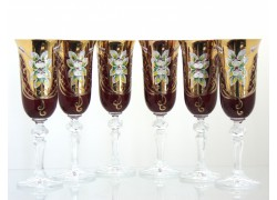 Glasses of champagne, 6 pcs, gilded and decorated, in ruby www.sklenenevyrobky.cz