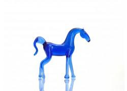 Kůň modrý ze skla www.sklenenevyrobky.cz