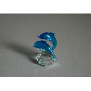 Delfín duo mini akvamarín 3x4,5x4 cm