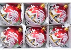 Christmas decorations - set of balls 6cm, 6pcs red mat, winter village