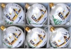 Vánoční ozdoby sada 6 malovaných kouliček 6cm v stříbrném matu