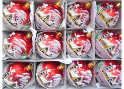 Vánoční ozdoby sada 12 malovaných kouliček 6cm v červeném matu
