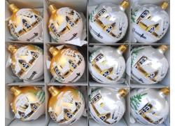 Vánoční ozdoby sada 12 malovaných kouliček 6cm v zlato stříbrném matu