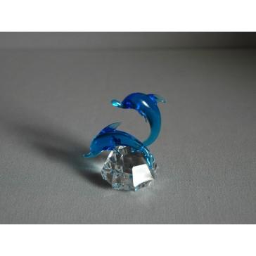 Delfín duo akvamarín 4x7x6 cm