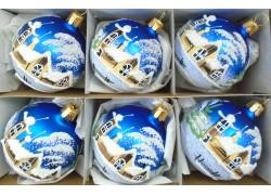 Christmas decorations - set of balls 8cm, 6pcs blue mat, decor winter village