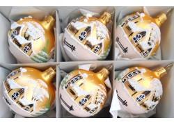 Christmas decorations - set of balls 8cm, 6pcs golden mat, decor winter village