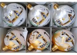 Vánoční ozdoby sada 6 malovaných kouliček 8cm zlato stříbrný mat