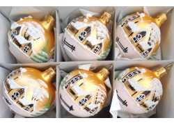 Christmas balls - set of 6 painted balls 6cm, gold mat