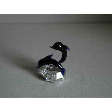 Delfín duo cobalt 4x7x6 cm