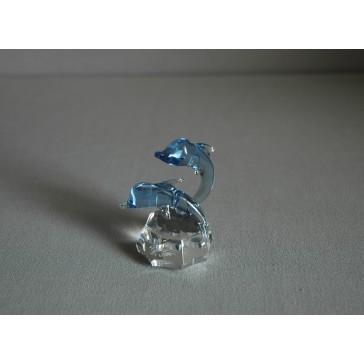 Delfín duo vodní modř 4x7x6 cm